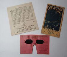 RARE Lot - Solar Eclipse Glasses & Ephemera 1932 Advertising Optical Company
