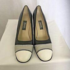 Vintage Bally Women Shoe Pilina Leather High Heel Classic Pump Navy White Sz7.5M