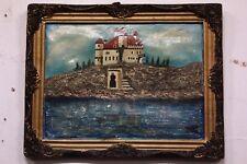 Dipinto / quadro olio su tela paesaggio castello cornice XX sec. signed firmato