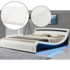 Polsterbett LED Design geschwungenes Doppelbett Bettgestell Matratze 180 x 200cm