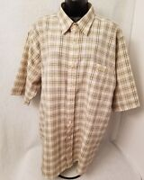 Southpole Mens Brown Black White Plaid Button Down Shirt Size L