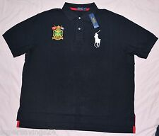 New 3XB 3XL BIG 3X POLO RALPH LAUREN Mens Big Pony rugby shirt top black solid