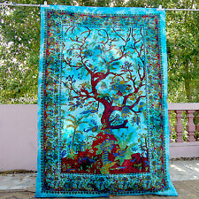 Indian Twin Turquoise Bedspreads Tree Of Life Birds Tapestry Hippie Wall Hanging
