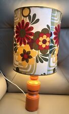 1970s French Lamp Light Table Floral Psychedelic Orange Yellow Vintage Retro