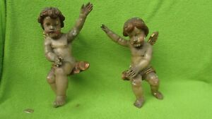Paar Barock Altarengel Engel Putten Putti 18. Jhdt. Antik Holz geschnitzt