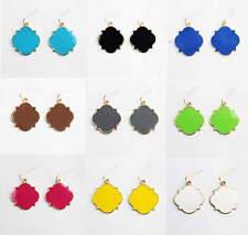 Personalized Monogram Enamel Quatrefoil Magnolia Blank Dangle Earrings for Women