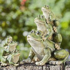 Kleine Dekofigur Statue Frog *Frosch - Pyramide* Kunstharz grün /  Höhe 13 cm