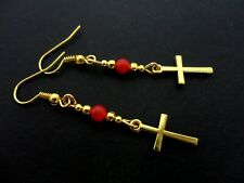 A PAIR OF GOLD COLOUR  DANGLY CROSS & RED JADE BEAD EARRINGS. NEW.