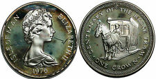 ISLE OF MAN CROWN 1976 KM#38a SILVER 0.925 THE HORSE TRAM