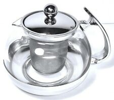 Stainless Steel Glass Tea Coffee Pot with Infuser Filter, 700ML Uniware