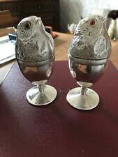 Silver Egg cups with chick covers (pair)