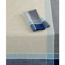 """Homewear Hudson Easy Care 60"""" x 84"""" Oblong Tablecloth Natural/Navy $65"""