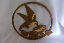 CARVED WOOD HUMMINGBIRD AND FLOWER WALL HANGING