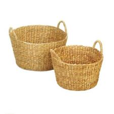 ROUND WICKER BASKET DUO - 2 SIZES - HYACINTH STRAW