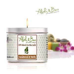 Alphy&Becs Candles Sandalwood & Vanilla Eco Soy 200gr HandMade In UK