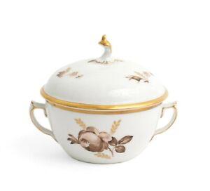 Royal Copenhagen Brown Rose Pattern Covered Sugar Bowl / Boullion Cup