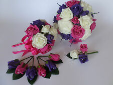 Wedding Bouquet Bundle with Ivory, Hot Pink and Purple Flowers - Bride