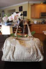 Jenrigo light cream metallic croc embossed multi pocket shoulder bag (pu4000