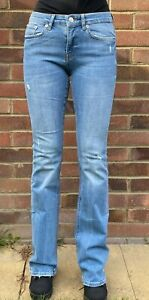Brand New Zara Mid Rise Distressed Flare Stretchy Cotton Jeans, Light Denim