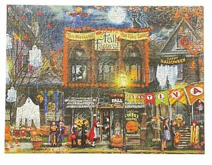 Fall Festival Halloween Autumn Ghost 500 Piece Jigsaw Puzzle SunsOut WORKED