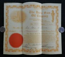 1916 UNCLE SAM OIL COMPANY 10,000 SHARES STOCK CERTIFICATE ATCHISON TULSA KANSAS