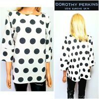 NEW DOROTHY PERKINS WOMEN`S TOP UK 14 WHITE & BLACK CIRCLE PRINT COLLARLESS #43