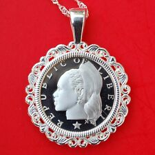 1978 Liberia 10 Cents Gem BU Proof Coin Solid 925 Sterling Silver Necklace NEW