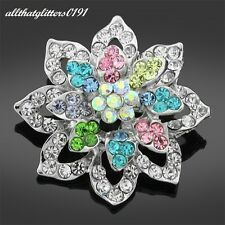 Multi-Coloured Flower Brooch With Crystals On A Silver Plated Frame.