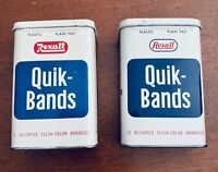 2 Vintage REXALL QUIK-BANDS Metal Empty Tins, Good Condition, Rare Collectibles