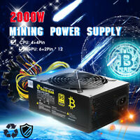 2000W ATX Gold Mining Power Supply SATA IDE 8 GPU suits for ETH BTC Ethereum