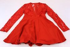Missguided Women's Lace Long Sleeve Plunge Skater Dress TW4 Red UK:8 US:4 NWT