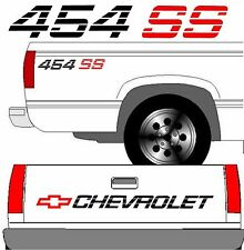 CHEVROLET SS Tailgate Truck Lettering + (2) 454 SS Vehicle Vinyl Decal BLACK SET