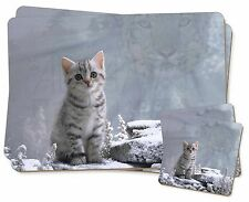 Animal Fantasy Cat+Snow Leopard Twin 2x Placemats+2x Coasters Set in Gi, AC-73PC