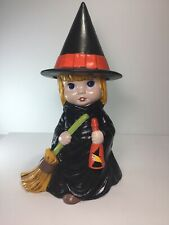 Vintage 1978 Atlantic Mold Halloween Girl Witch With Broom & Witches Pointed Hat