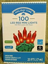 Holiday Time 100 Red LED Mini Lights Green Wire Indoor/Outdoor NIB