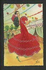 Embroidered clothing postcard Artist Elsi Gumier, Dancers music #58