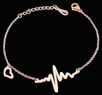 Akzent Damen Armband Rosegold Farben Edelstahl Herzschlag 5030415-003