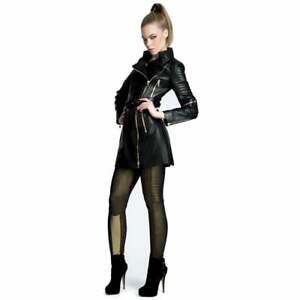 Ladies Luxury Fitted Black Leather Biker Trench Coat Impero London
