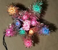 Vtg lighted star tree topper Tinsel with multi color lights 8""
