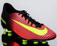 $80 NEW Men Nike MERCURIAL VORTEX 3 FG Black Volt Pink Soccer Cleats Shoes SZ 10