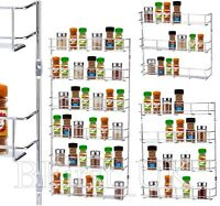 Chrome Spice Rack Herb Jar Holder Storage For Kitchen Cupboard Door Wall Mounted