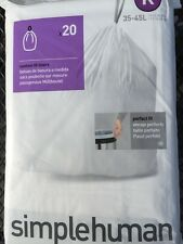 simplehuman Code K 20 Pack 12 Gallon Custom Fit Trash Can Garbage Bin Bags Liner