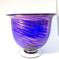 Cobalt Blue And Aventurine Vase Encased Glass Clear Pedestal Hand Blown