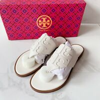 Tory Burch Jamie Full LOGO Thong Calf 48275 Sandal Ivory White Leather US 6