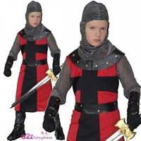 Boys Deluxe Dark Age Knight Costume Child Medieval Crusader Warrior Fancy Dress
