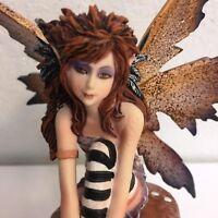 Punk Gothic Autumn Faery Fairy on Toadstool Mushroom Statue Figurine Amy Brown