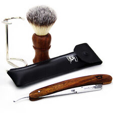 Synthetic Hair Shaving Brush Wooden Cut Throat Razor Straight Shave Stand 3X SET