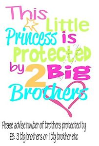 IRON ON TRANSFER PRINCESS SISTER BROTHER MATERNITY PROTECTED (number can change)