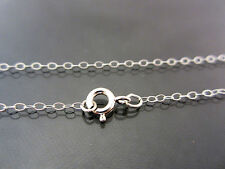 """18"""" inch Solid Sterling Silver Petite Flat Cable Chain Necklace - USA"""