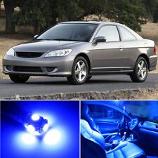 4 x Premium Blue LED Lights Interior Package Kit for Honda Civic 2001-2005 +Tool